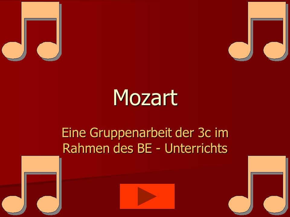 Mozart Eine Gruppenarbeit der 3c im Rahmen des BE - Unterrichts