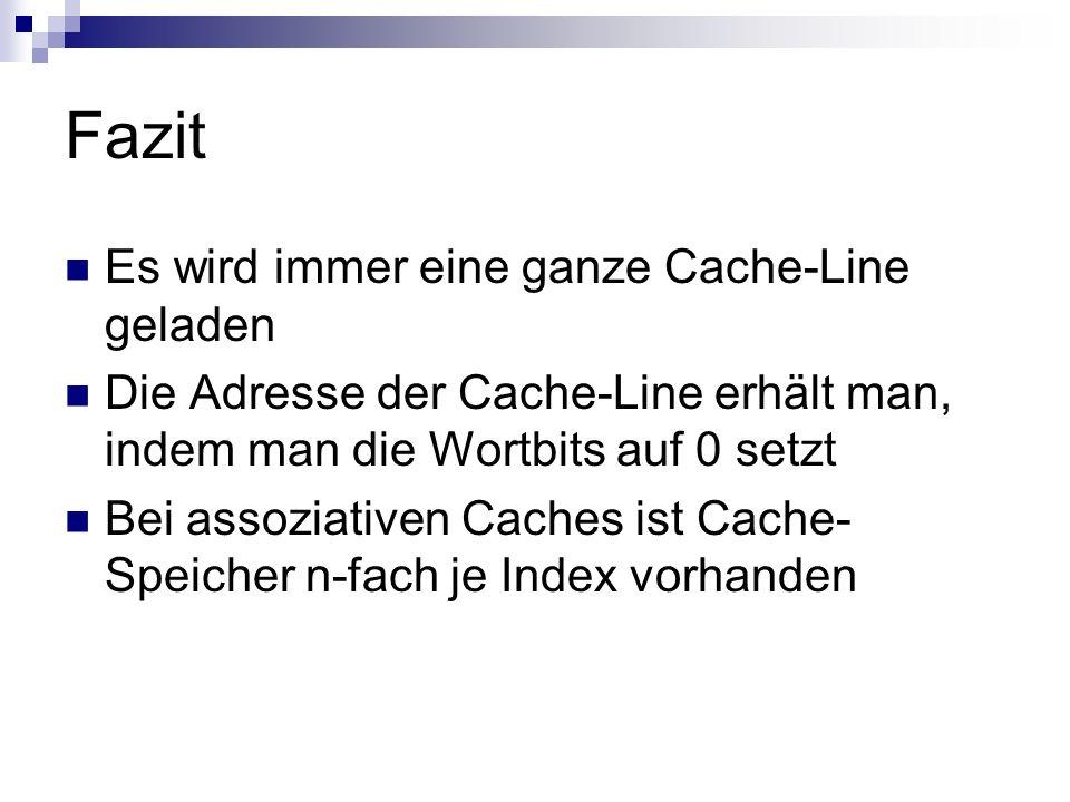 Fazit Es wird immer eine ganze Cache-Line geladen Die Adresse der Cache-Line erhält man, indem man die Wortbits auf 0 setzt Bei assoziativen Caches is