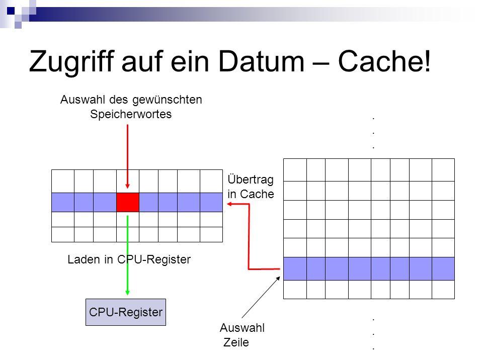 Zugriff auf ein Datum – Cache!............ Auswahl Zeile Auswahl des gewünschten Speicherwortes Übertrag in Cache Laden in CPU-Register CPU-Register