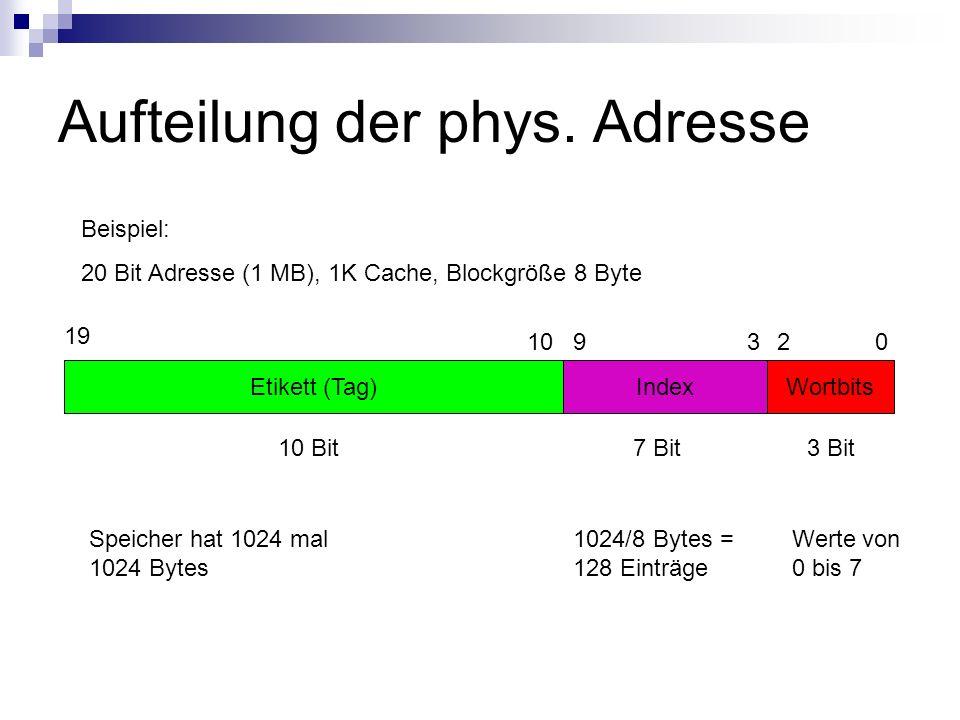 Aufteilung der phys. Adresse Etikett (Tag)IndexWortbits Beispiel: 20 Bit Adresse (1 MB), 1K Cache, Blockgröße 8 Byte 19 0 3 Bit 1024/8 Bytes = 128 Ein