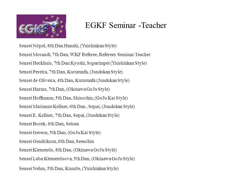 EGKF Seminar -Teacher Sensei Nöpel, 8th Dan Hanshi, (Yuishinkan Style) Sensei Morandi, 7th Dan, WKF Referee, Referees Seminar Teacher Sensei Heckhuis,
