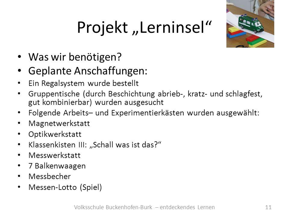 Projekt Lerninsel 11Volksschule Buckenhofen-Burk – entdeckendes Lernen Was wir benötigen? Geplante Anschaffungen: Ein Regalsystem wurde bestellt Grupp