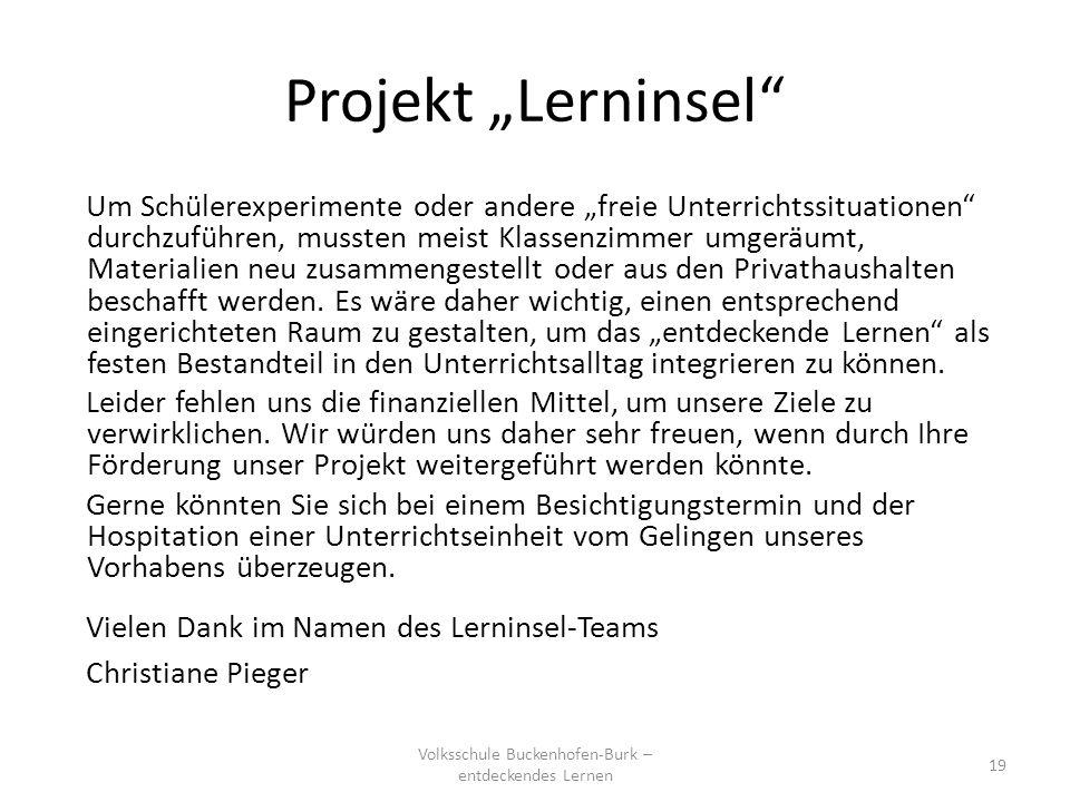 Projekt Lerninsel Volksschule Buckenhofen-Burk – entdeckendes Lernen 19 Warum hält die Postkarte unter einem umgestülpten Wasserglas? Um Schülerexperi