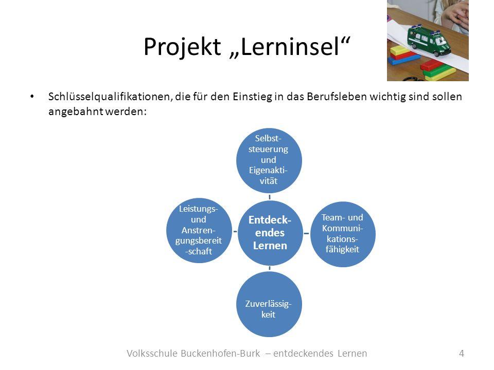 Projekt Lerninsel 4Volksschule Buckenhofen-Burk – entdeckendes Lernen Schlüsselqualifikationen, die für den Einstieg in das Berufsleben wichtig sind s