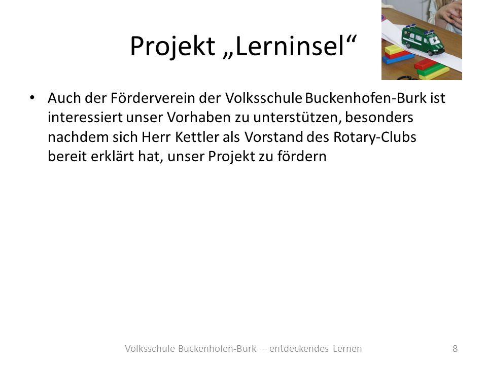 Projekt Lerninsel 8Volksschule Buckenhofen-Burk – entdeckendes Lernen Auch der Förderverein der Volksschule Buckenhofen-Burk ist interessiert unser Vo