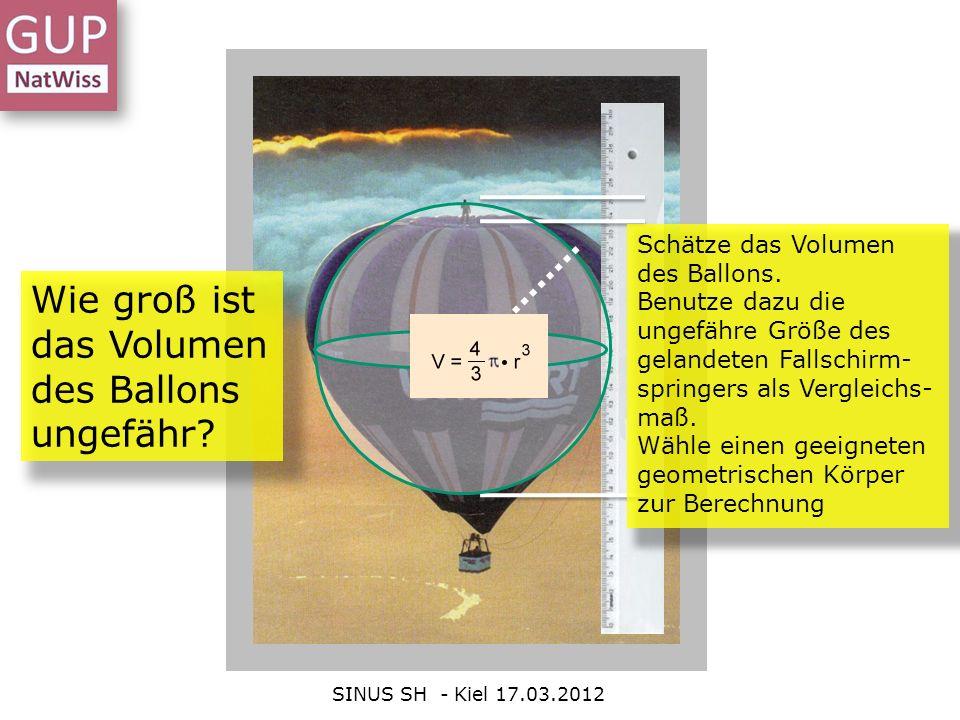 SINUS SH - Kiel 17.03.2012 Wie groß ist das Volumen des Ballons ungefähr? Schätze das Volumen des Ballons. Benutze dazu die ungefähre Größe des geland