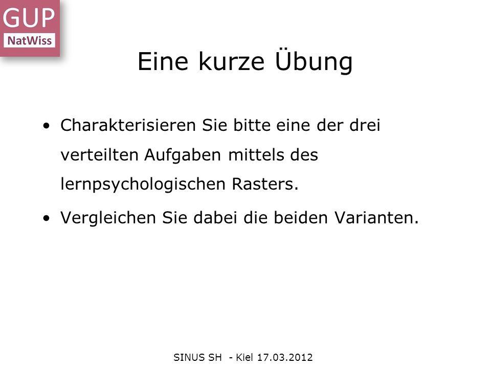Eine kurze Übung SINUS SH - Kiel 17.03.2012 Charakterisieren Sie bitte eine der drei verteilten Aufgaben mittels des lernpsychologischen Rasters. Verg