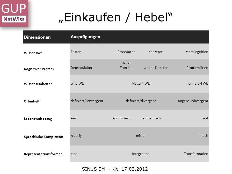 Einkaufen / Hebel SINUS SH - Kiel 17.03.2012 Dimensionen Ausprägungen Wissensart FaktenProzedurenKonzepteMetakognition Kognitiver Prozess Reproduktion