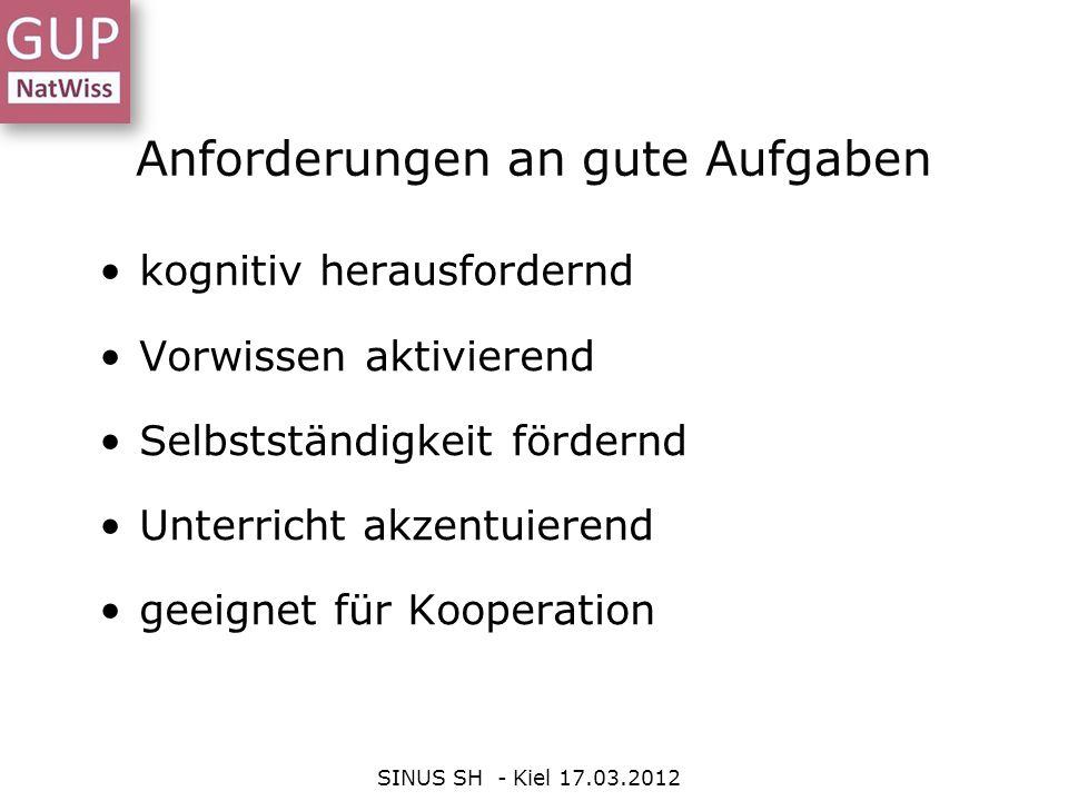 Anforderungen an gute Aufgaben SINUS SH - Kiel 17.03.2012 kognitiv herausfordernd Vorwissen aktivierend Selbstständigkeit fördernd Unterricht akzentui