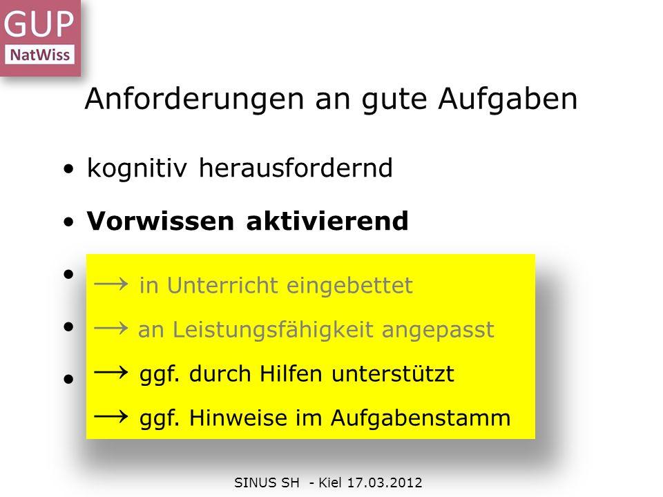 Anforderungen an gute Aufgaben SINUS SH - Kiel 17.03.2012 kognitiv herausfordernd Vorwissen aktivierend selbstständigkeits-fördernd Unterrichts akzent