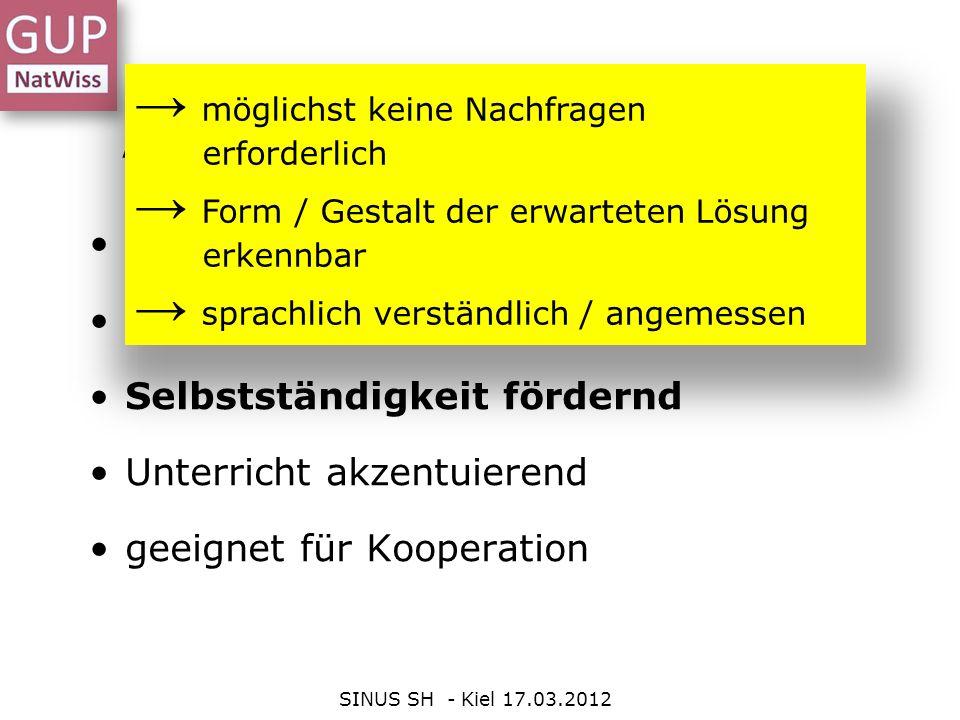 Arbeitsphase SINUS SH - Kiel 17.03.2012 Bilden Sie Gruppen zu viert.
