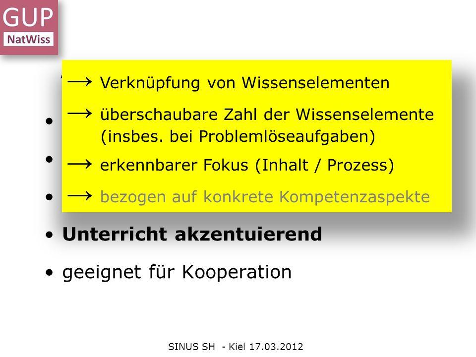 Anforderungen an gute Aufgaben SINUS SH - Kiel 17.03.2012 kognitiv herausfordernd Vorwissen aktivierend selbstständigkeits-fördernd Unterricht akzentu