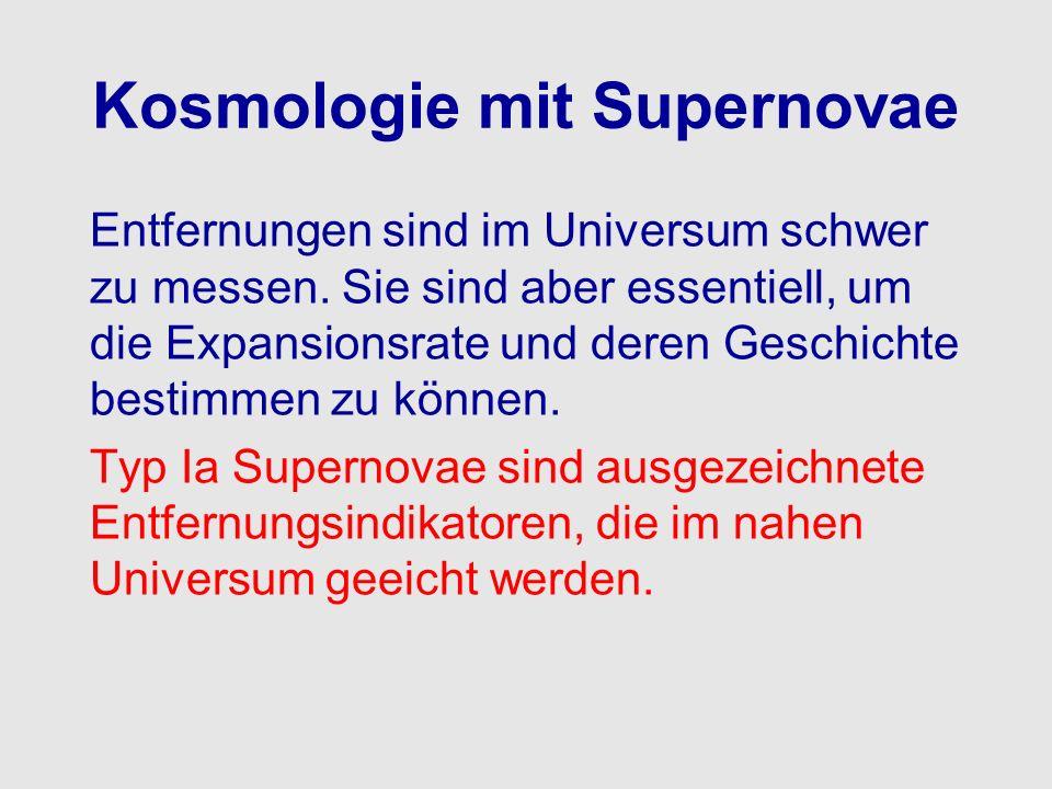 Kosmologie mit Supernovae Entfernungen sind im Universum schwer zu messen. Sie sind aber essentiell, um die Expansionsrate und deren Geschichte bestim