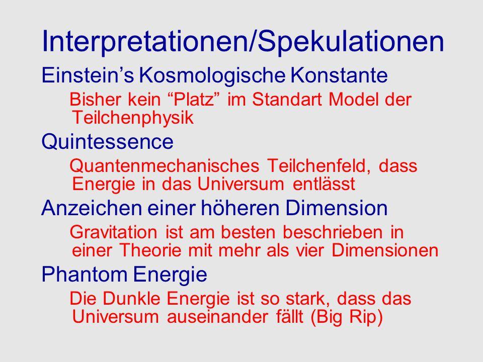 Interpretationen/Spekulationen Einsteins Kosmologische Konstante Bisher kein Platz im Standart Model der Teilchenphysik Quintessence Quantenmechanisch