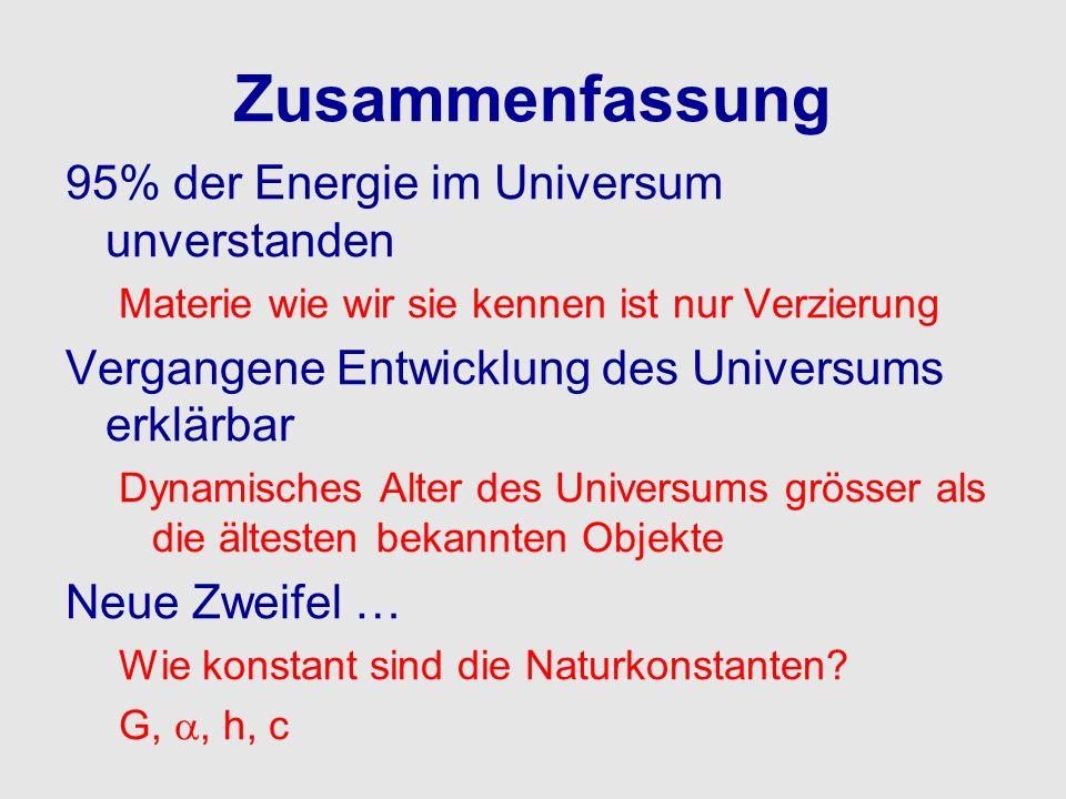 Zusammenfassung 95% der Energie im Universum unverstanden Materie wie wir sie kennen ist nur Verzierung Vergangene Entwicklung des Universums erklärba
