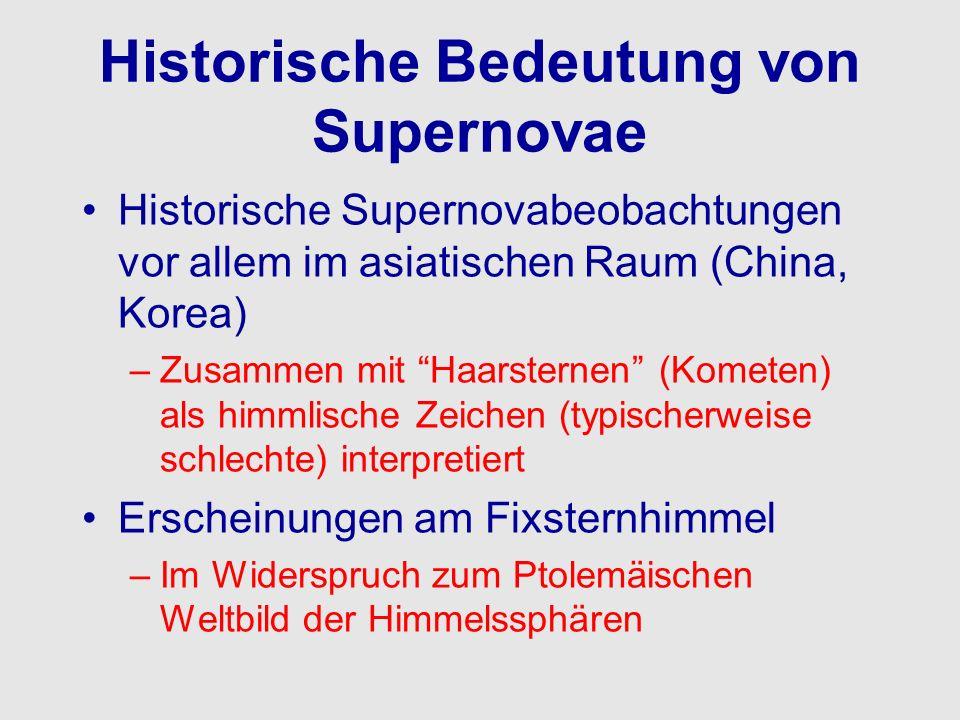 Historische Bedeutung von Supernovae Historische Supernovabeobachtungen vor allem im asiatischen Raum (China, Korea) –Zusammen mit Haarsternen (Komete