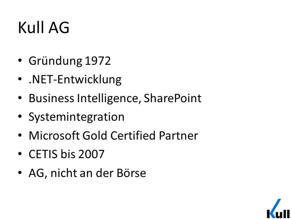 Kull AG Gründung 1972.NET-Entwicklung Business Intelligence, SharePoint Systemintegration Microsoft Gold Certified Partner CETIS bis 2007 AG, nicht an