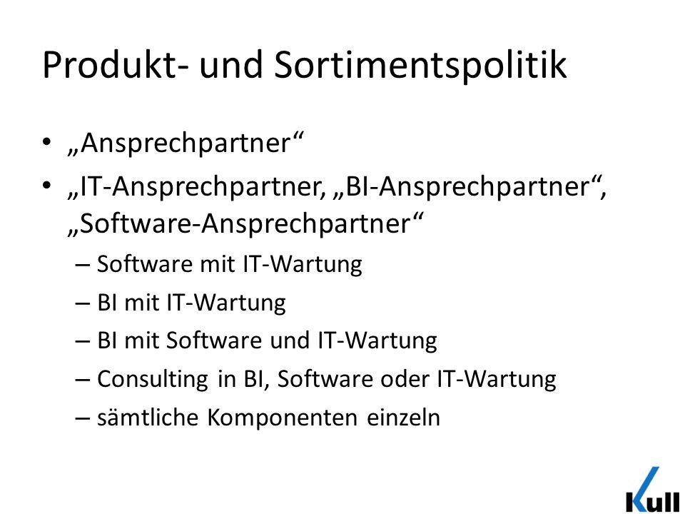 Produkt- und Sortimentspolitik Ansprechpartner IT-Ansprechpartner, BI-Ansprechpartner, Software-Ansprechpartner – Software mit IT-Wartung – BI mit IT-