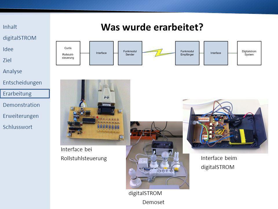 Inhalt digitalSTROM Idee Ziel Analyse Entscheidungen Erarbeitung Demonstration Erweiterungen Schlusswort Was wurde erarbeitet? Interface bei Rollstuhl