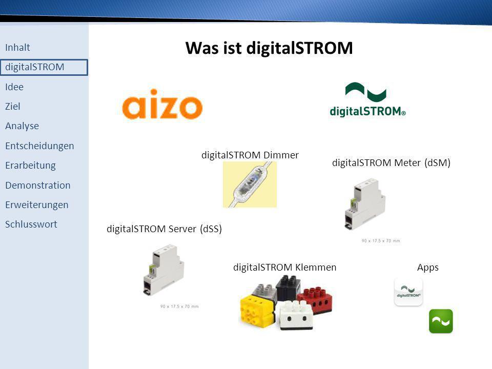 Inhalt digitalSTROM Idee Ziel Analyse Entscheidungen Erarbeitung Demonstration Erweiterungen Schlusswort Funktionsweise des digitalSTROM
