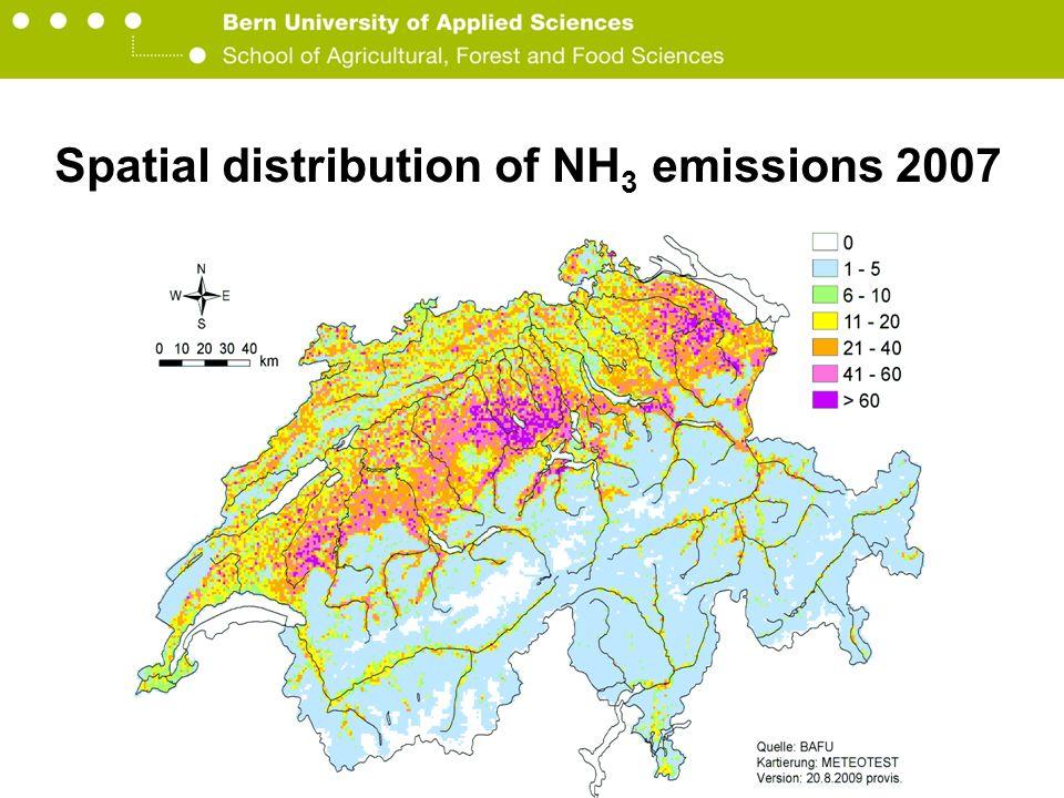 Berner Fachhochschule Hochschule für Agrar-, Forst- und Lebensmittelwissenschaften HAFL Quelle: BAFU/EMIS (2009) Spatial distribution of NH 3 emissions 2007