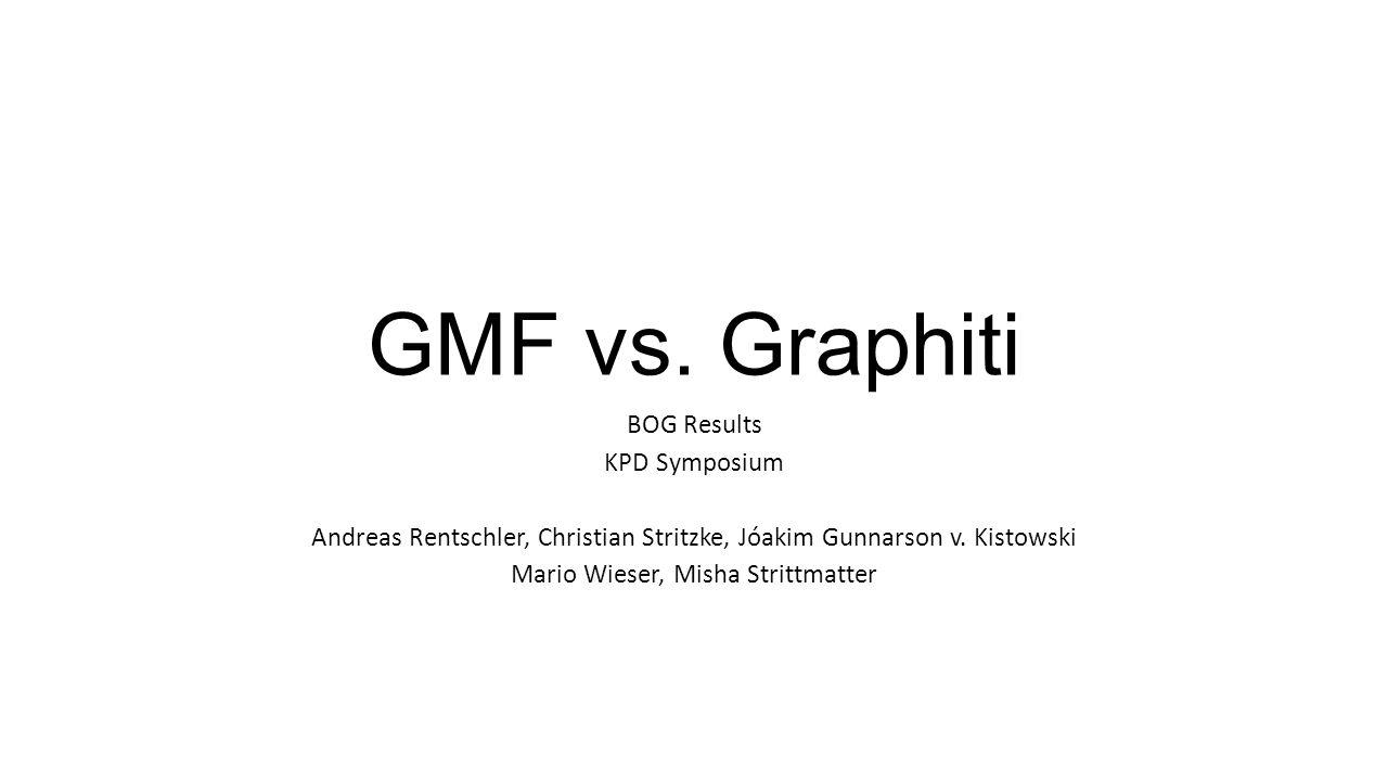 GMF vs. Graphiti BOG Results KPD Symposium Andreas Rentschler, Christian Stritzke, Jóakim Gunnarson v. Kistowski Mario Wieser, Misha Strittmatter