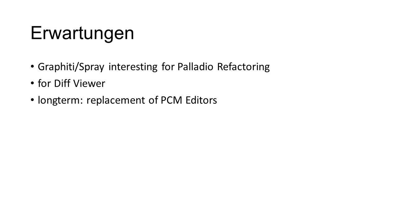 Erwartungen Graphiti/Spray interesting for Palladio Refactoring for Diff Viewer longterm: replacement of PCM Editors