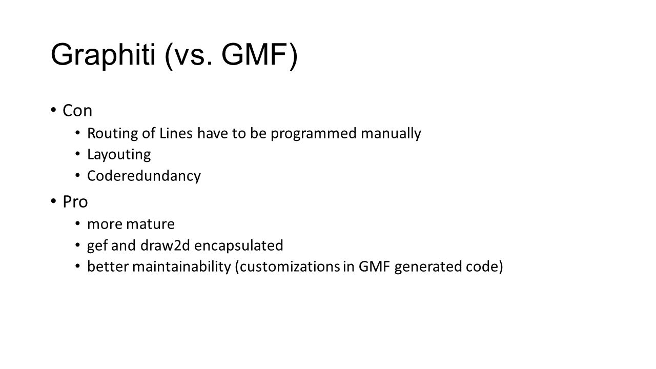Graphiti (vs. GMF) Con Routing of Lines have to be programmed manually Layouting Coderedundancy Pro more mature gef and draw2d encapsulated better mai
