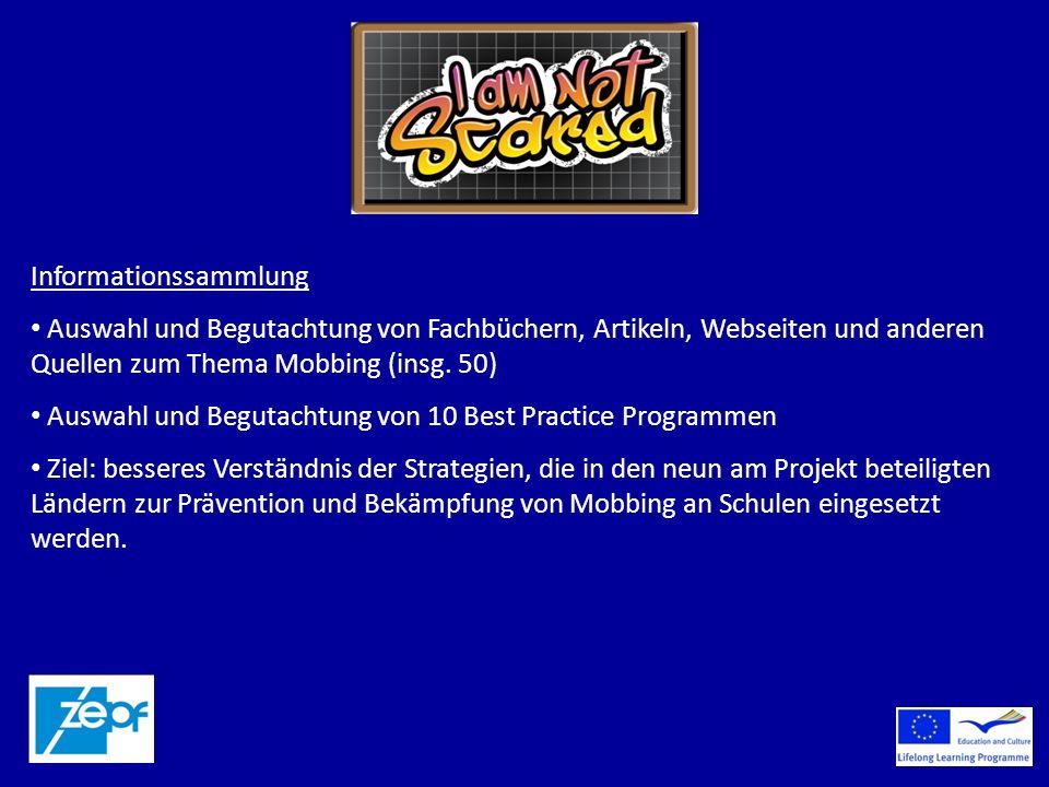 Informationssammlung Auswahl und Begutachtung von Fachbüchern, Artikeln, Webseiten und anderen Quellen zum Thema Mobbing (insg.