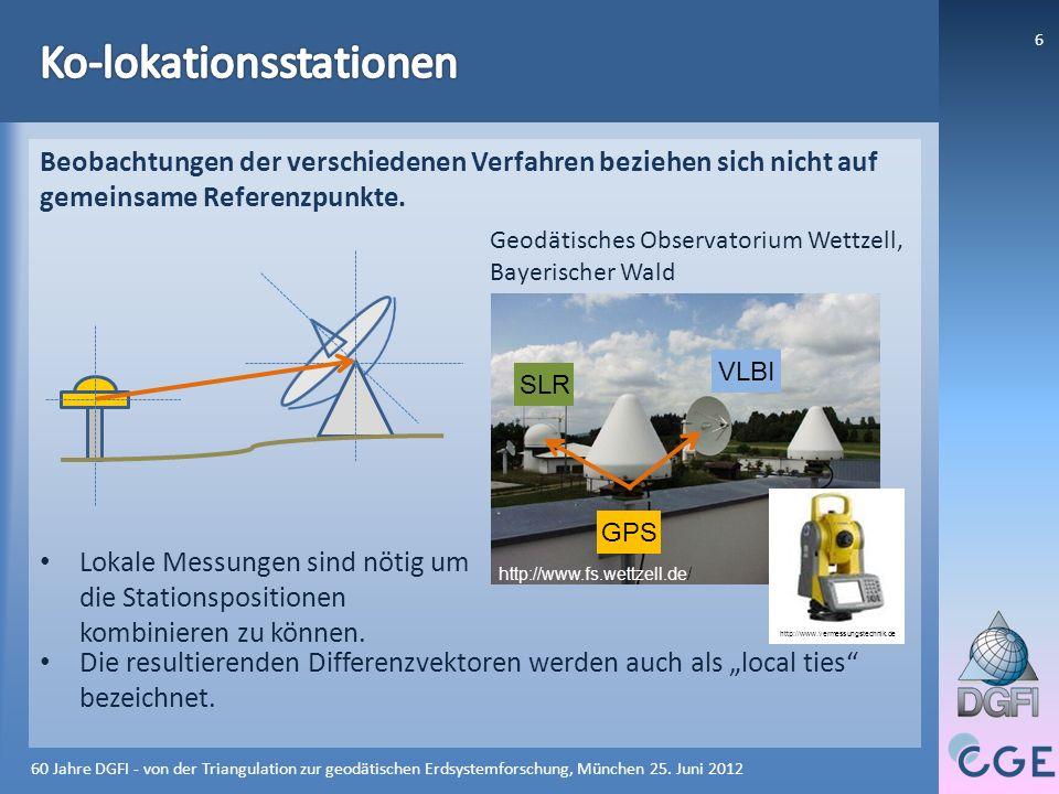 7 VLBI 106 SLR 122 GNSS 559 DORIS 132 Gesamt 1000 VLBI 106 SLR 122 GNSS 559 DORIS 132 Gesamt 1000 61% 14% 13% 12% 60 Jahre DGFI - von der Triangulation zur geodätischen Erdsystemforschung, München 25.