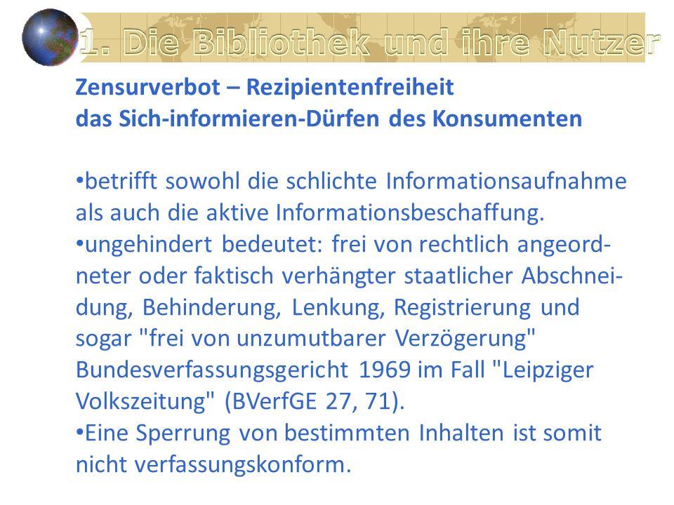 Zensurverbot – Rezipientenfreiheit das Sich-informieren-Dürfen des Konsumenten betrifft sowohl die schlichte Informationsaufnahme als auch die aktive Informationsbeschaffung.