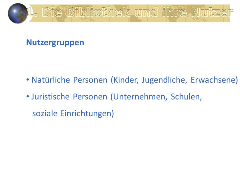Nutzergruppen Natürliche Personen (Kinder, Jugendliche, Erwachsene) Juristische Personen (Unternehmen, Schulen, soziale Einrichtungen)