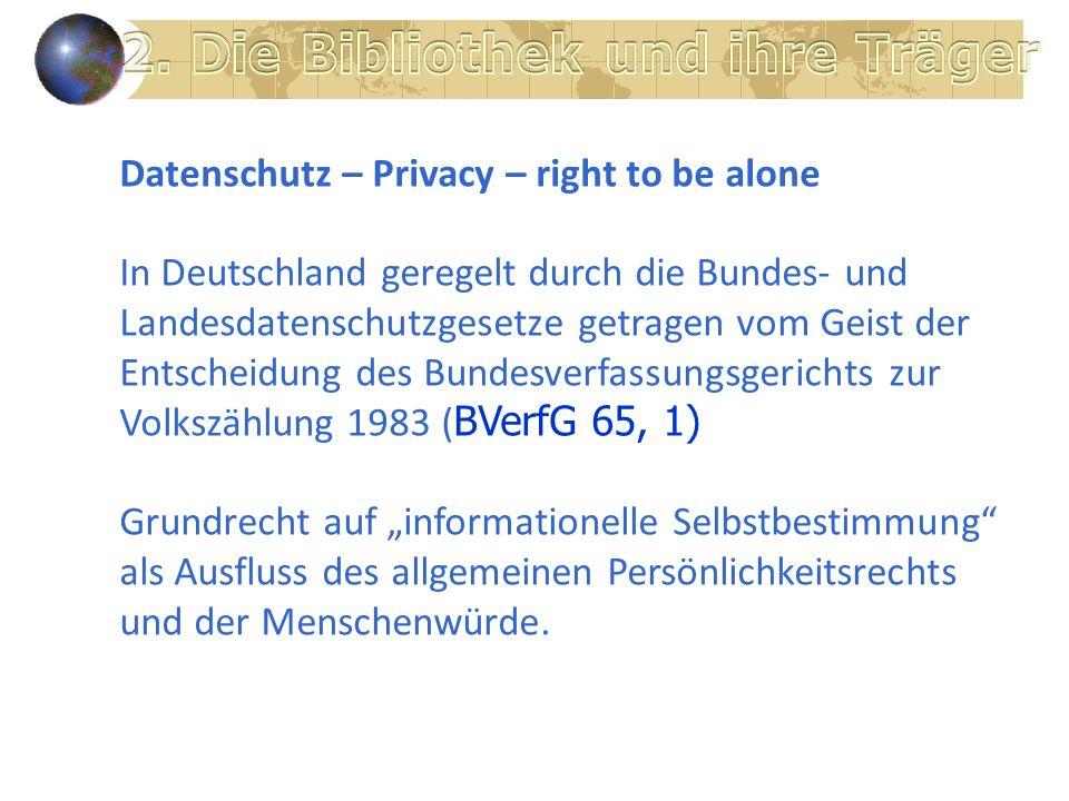 Datenschutz – Privacy – right to be alone In Deutschland geregelt durch die Bundes- und Landesdatenschutzgesetze getragen vom Geist der Entscheidung des Bundesverfassungsgerichts zur Volkszählung 1983 ( BVerfG 65, 1) Grundrecht auf informationelle Selbstbestimmung als Ausfluss des allgemeinen Persönlichkeitsrechts und der Menschenwürde.