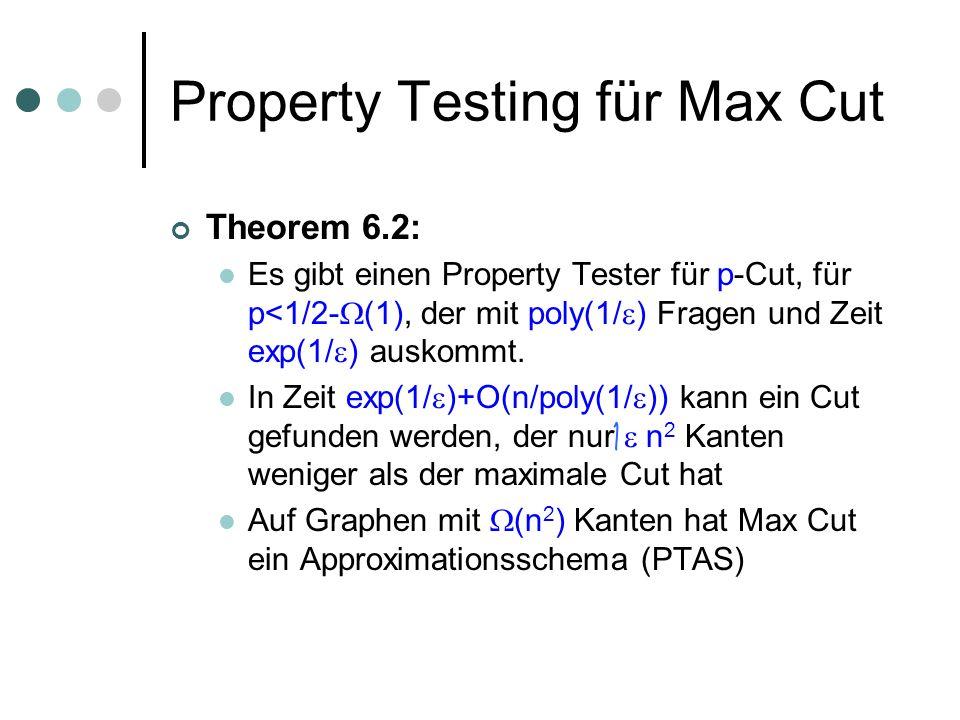 Property Testing für Max Cut Theorem 6.2: Es gibt einen Property Tester für p-Cut, für p<1/2- (1), der mit poly(1/ ) Fragen und Zeit exp(1/ ) auskommt.