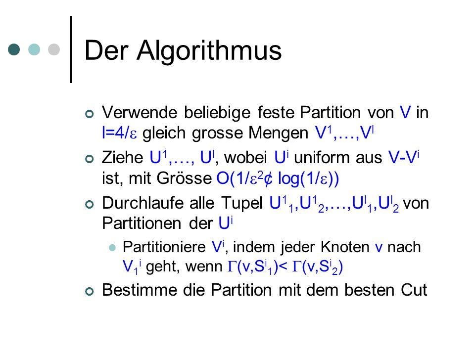 Der Algorithmus Verwende beliebige feste Partition von V in l=4/ gleich grosse Mengen V 1,…,V l Ziehe U 1,…, U l, wobei U i uniform aus V-V i ist, mit Grösse O(1/ 2 ¢ log(1/ )) Durchlaufe alle Tupel U 1 1,U 1 2,…,U l 1,U l 2 von Partitionen der U i Partitioniere V i, indem jeder Knoten v nach V 1 i geht, wenn (v,S i 1 )< (v,S i 2 ) Bestimme die Partition mit dem besten Cut