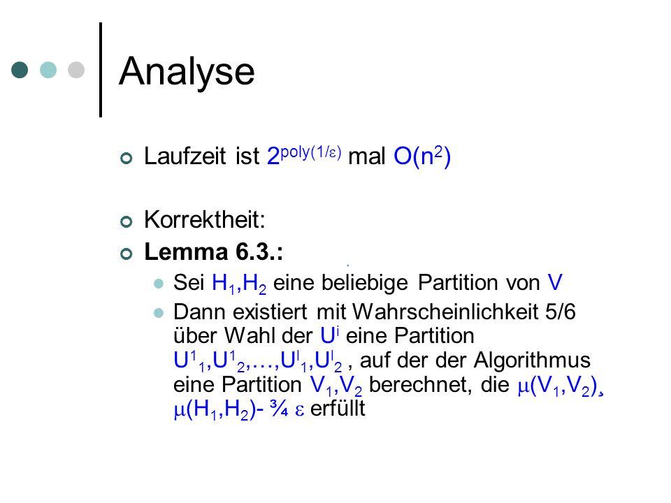 Analyse Laufzeit ist 2 poly(1/ ) mal O(n 2 ) Korrektheit: Lemma 6.3.: Sei H 1,H 2 eine beliebige Partition von V Dann existiert mit Wahrscheinlichkeit