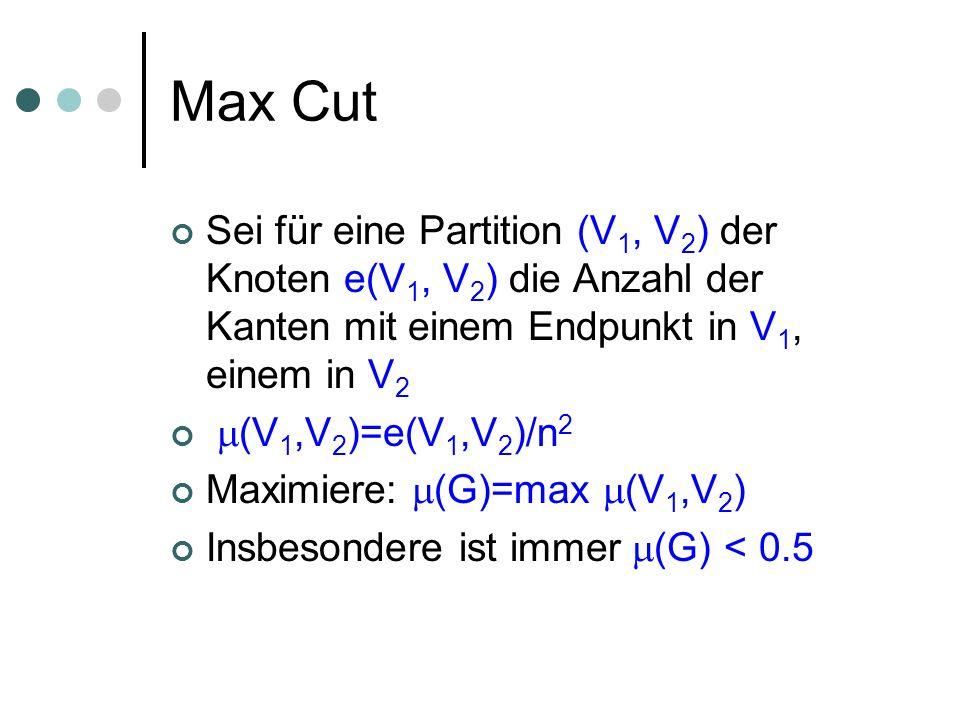 Max Cut Sei für eine Partition (V 1, V 2 ) der Knoten e(V 1, V 2 ) die Anzahl der Kanten mit einem Endpunkt in V 1, einem in V 2 (V 1,V 2 )=e(V 1,V 2 )/n 2 Maximiere: (G)=max (V 1,V 2 ) Insbesondere ist immer (G) < 0.5