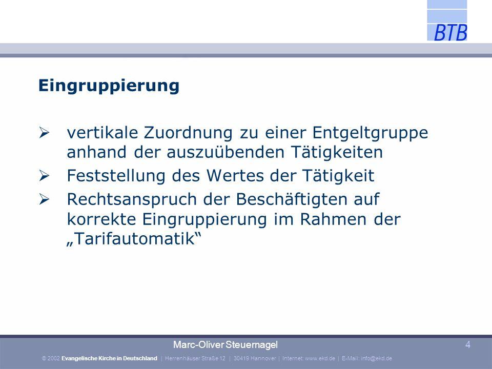© 2002 Evangelische Kirche in Deutschland | Herrenhäuser Straße 12 | 30419 Hannover | Internet: www.ekd.de | E-Mail: info@ekd.de Marc-Oliver Steuernagel5 Eingruppierung Analytisches System: Punktwertsysteme führen zur zutreffenden Entgeltgruppe z.B.