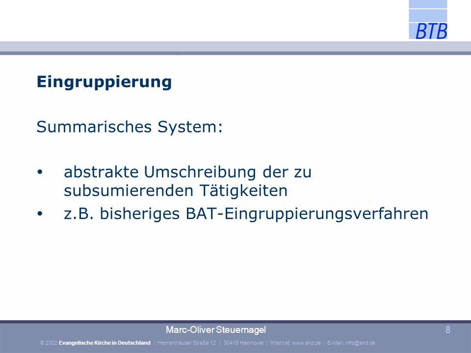 © 2002 Evangelische Kirche in Deutschland | Herrenhäuser Straße 12 | 30419 Hannover | Internet: www.ekd.de | E-Mail: info@ekd.de Marc-Oliver Steuernagel9 Eingruppierung Tätigkeitsmerkmale: IV b, Allg.Teil, Fg.