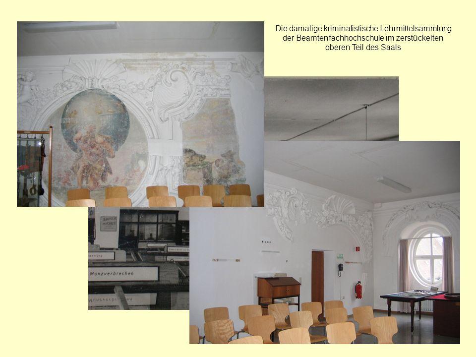 Die damalige kriminalistische Lehrmittelsammlung der Beamtenfachhochschule im zerstückelten oberen Teil des Saals