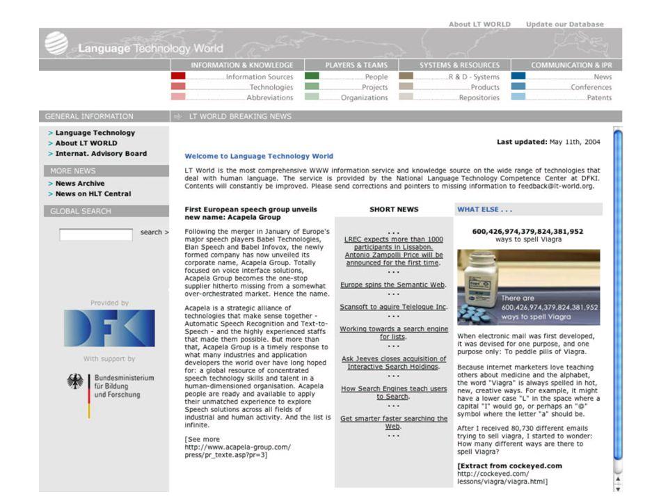 D EUTSCHES K OMPETENZZENTRUM FÜR S PRACHTECHNOLOGIE AM DFKI u20449