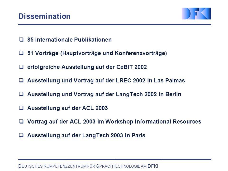 D EUTSCHES K OMPETENZZENTRUM FÜR S PRACHTECHNOLOGIE AM DFKI Dissemination 85 internationale Publikationen 51 Vorträge (Hauptvorträge und Konferenzvort