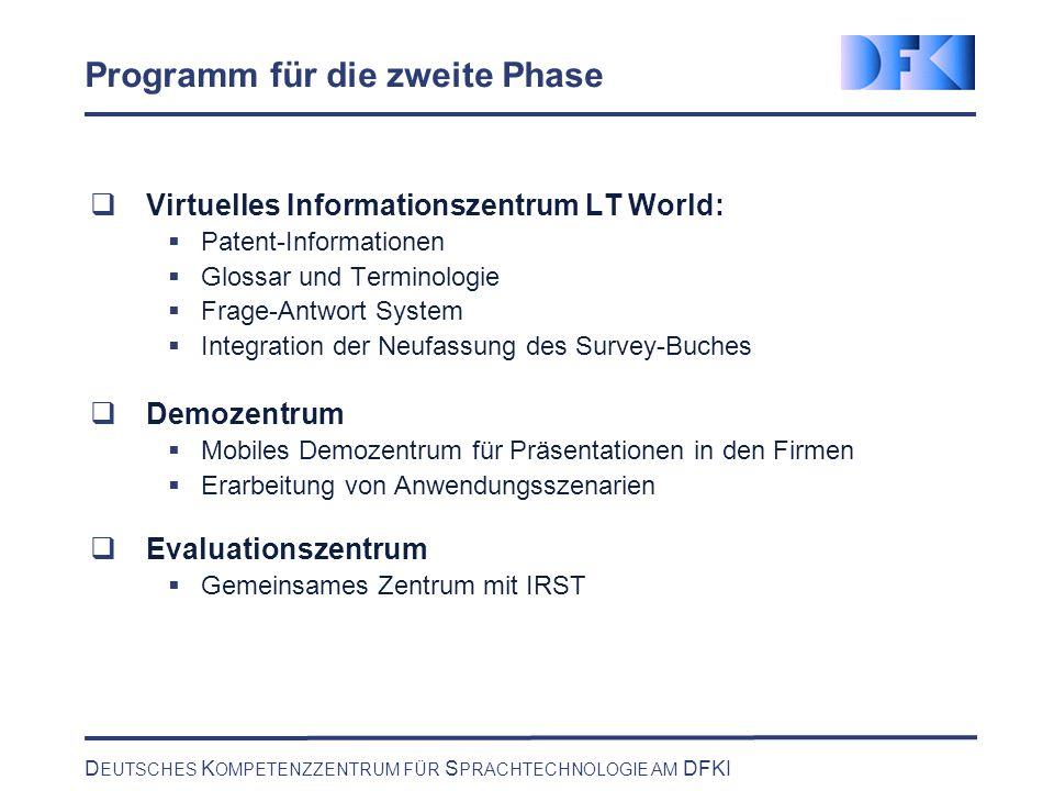 D EUTSCHES K OMPETENZZENTRUM FÜR S PRACHTECHNOLOGIE AM DFKI Programm für die zweite Phase Virtuelles Informationszentrum LT World: Patent-Informatione