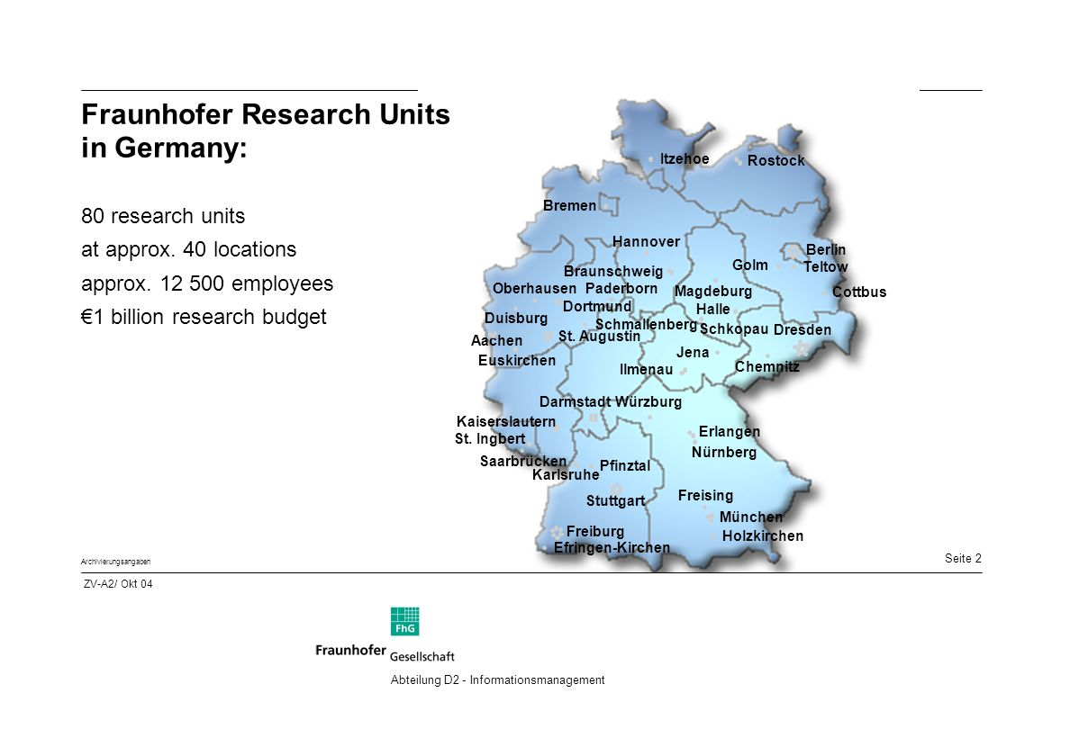 Seite 2 Archivierungsangaben Abteilung D2 - Informationsmanagement Fraunhofer Research Units in Germany: 80 research units at approx.