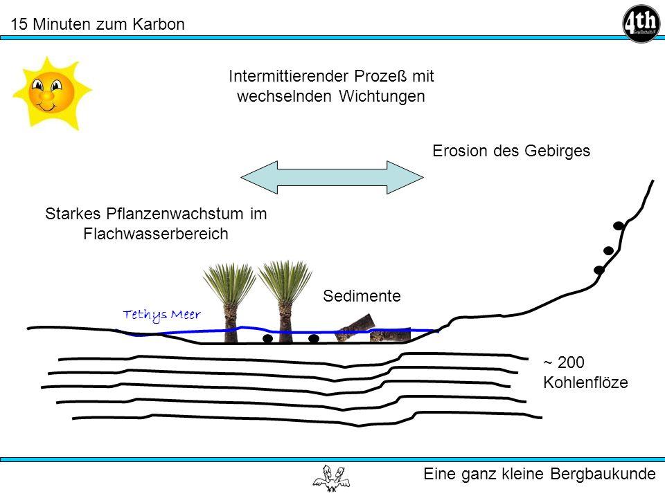 15 Minuten zum Karbon Eine ganz kleine Bergbaukunde Tethys Meer Starkes Pflanzenwachstum im Flachwasserbereich Erosion des Gebirges Sedimente ~ 200 Kohlenflöze Intermittierender Prozeß mit wechselnden Wichtungen