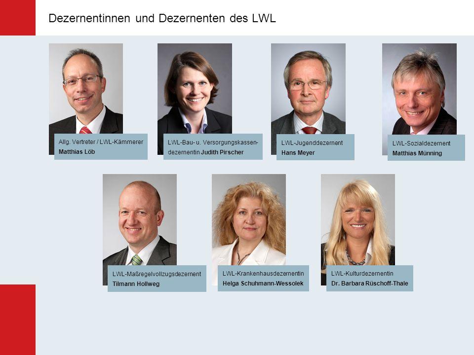 Dezernentinnen und Dezernenten des LWL LWL-Jugenddezernent Hans Meyer LWL-Krankenhausdezernentin Helga Schuhmann-Wessolek LWL-Bau- u. Versorgungskasse