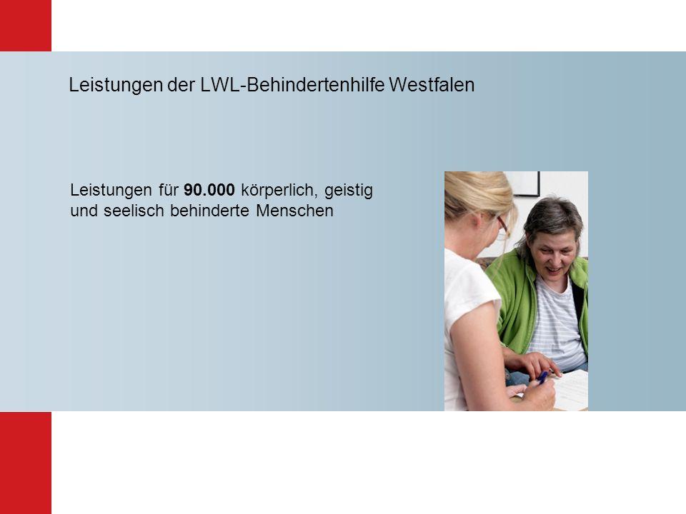 Leistungen der LWL-Behindertenhilfe Westfalen Leistungen für 90.000 körperlich, geistig und seelisch behinderte Menschen