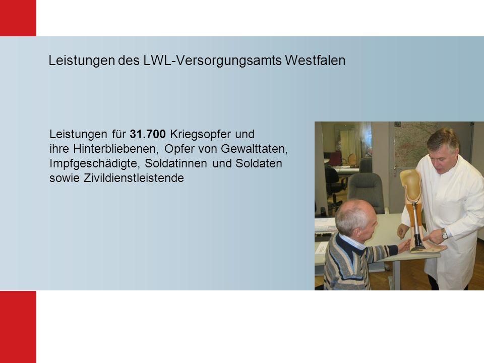 Leistungen des LWL-Versorgungsamts Westfalen Leistungen für 31.700 Kriegsopfer und ihre Hinterbliebenen, Opfer von Gewalttaten, Impfgeschädigte, Solda