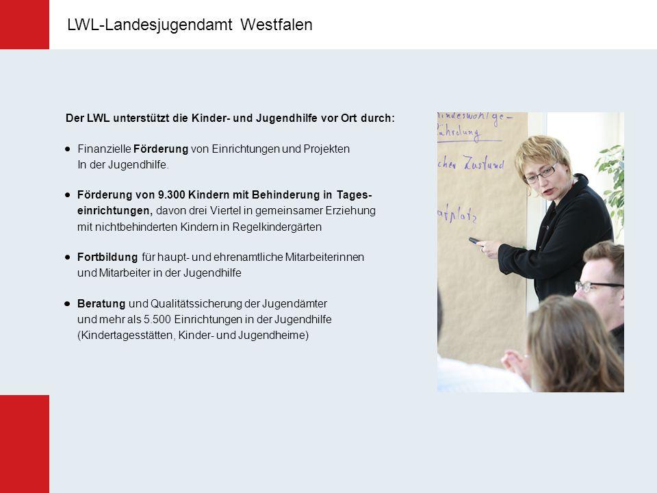LWL-Landesjugendamt Westfalen Der LWL unterstützt die Kinder- und Jugendhilfe vor Ort durch: Finanzielle Förderung von Einrichtungen und Projekten In