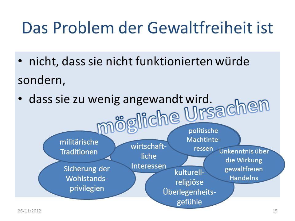 Das Problem der Gewaltfreiheit ist nicht, dass sie nicht funktionierten würde sondern, dass sie zu wenig angewandt wird. 26/11/201215 politische Macht